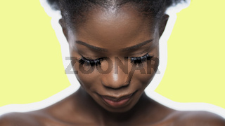 Pretty Afro Woman's Face Close Up Isolated On Light Green