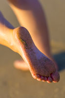 Sandy Female Feet By Sunset
