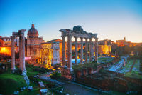 Roman forum ruins at the night time