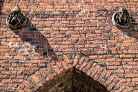 bernau bei berlin, deutschland - 30.04.2019 - detail am mittelalterlichen steintor