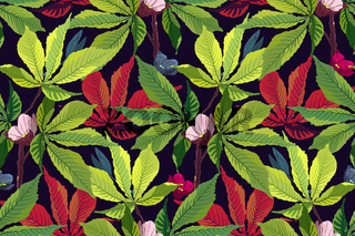 Art floral vector tropical pattern. Green leaves.