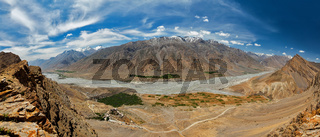 Aerial panorama of Spiti valley and Key gompa in Himalayas. Spiti valley