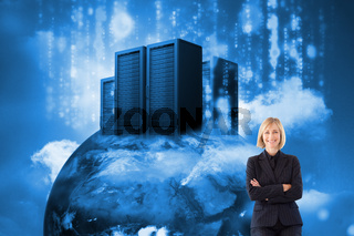 Composite image of friendly businesswoman smiling at the camera in a meeting