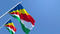 3D rendering of the national flag of Seychelles waving in the wind