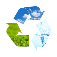 Illustration recycling symbol of nature elements