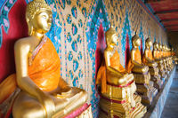 View of row gold statues of sitting buddhas
