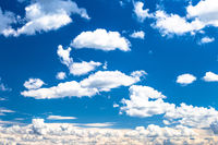 Beautiful bright blue sky with white clouds