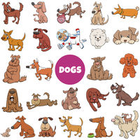 cartoon dogs and puppies comic characters big set