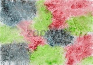 Von Hand gemaltes Aquarell mit Farbklecksen und Folienabdruck in Dunkelblau, Rot und Grün