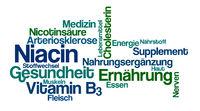 Word Cloud on a white background - Niacin (German)
