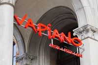 Vapiano logo sign at local branch of german franchise restaurant chain serving italian food like pizza and pasta