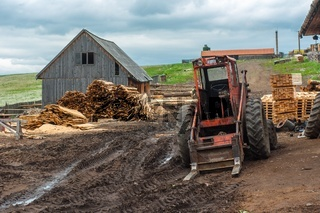 Wood industry outdoorsm with red tractor
