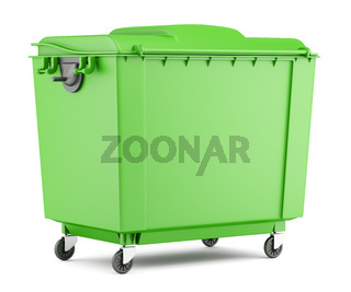 green garbage container isolated on white background