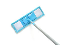 Top view of blue plastic mop