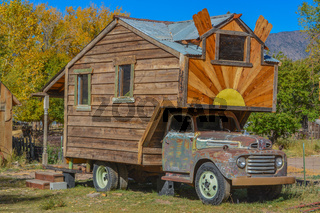 Old Ford truck turned into a motor home in Utah