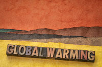 global warming word concept in wood type