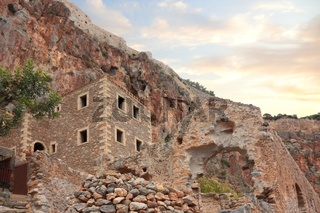 Ruins of old city of Monemvasia in Greece