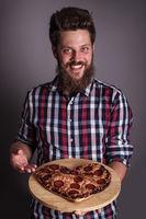 Man gives heart shapes pizza