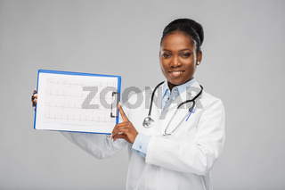 african american female doctor with cardiogram
