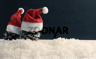 Pine cones with hat of Santa on snow