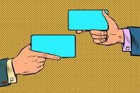 Duel business negotiations. business online communication smartphone