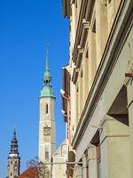 Altstadt von Görlitz, Sachsen, Deutschland, mit Dreifaltigkeitskirche und Rathaus