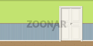 Illustration of a room with door, seamless