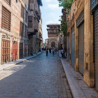 Moez Street with Sabil-Kuttab of Katkhuda historic building at the far end, Cairo, Egypt