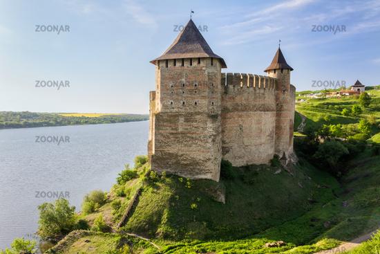 Old Medieval Castle (fortress) on Dniester riverside in Khotyn