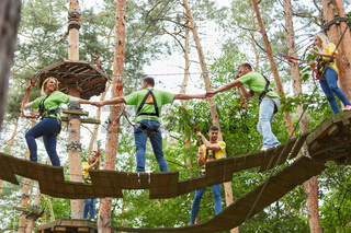 Gruppe beim Klettern im Hochseilgarten als Teambuilding Aktivität