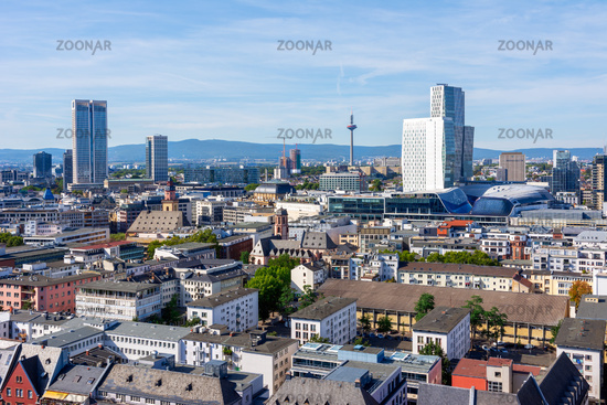 Aerial view over Frankfurt