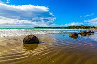 The Pacific ocean tide begins