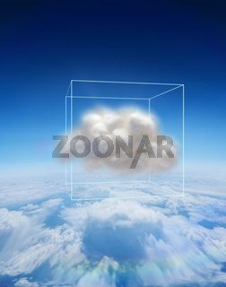 Composite image of cloud floating in a box