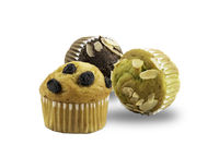 Different kinds of freshly baked banana muffins