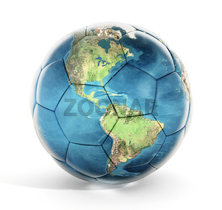 Soccer ball with earth map texture