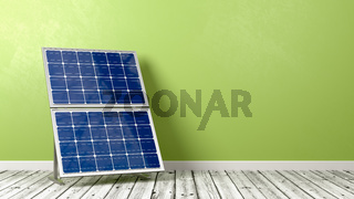Solar Panel on Wooden Floor Against Wall