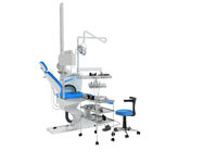 Modern dental chair with lighting with tools for drilling white with blue inserts and with tools and an armchair for the dentist on the right 3d render on white background no shadow