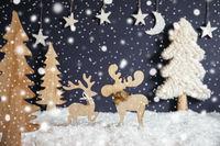 Christmas Tree, Moose Couple In Love, Moon, Snow, Snowflakes, Black Background