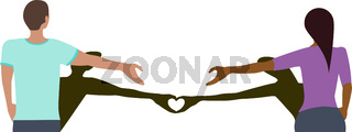 Social Distancing Love Heart Vector