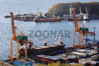 Autumn view of seaport Petropavlovsk-Kamchatsky City. Kamchatka Peninsula, Russian Far East