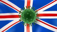 Coronavirus bacteria on the background of British flag.