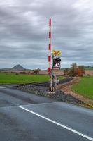 Rail crossing in Central Bohemian Uplands.Czech Republic