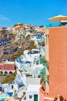 Terraces of Fira town in Santorini