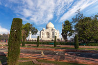 Taj Mahal Mausoleum in the park, Agra, India