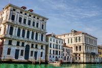 Venice, italy - 16.03.2019 - palazzo corner della regina and ca pesaro