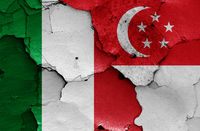flags of Italy and Singapore painted on cracked wall