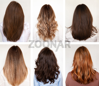 Six women with long hair and hairstyles, rear view.