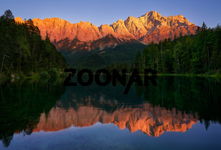 Zugspitze mountain view from Eibsee lake in Germany