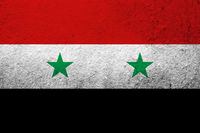 The Syrian Arab Republic National flag . Grunge background