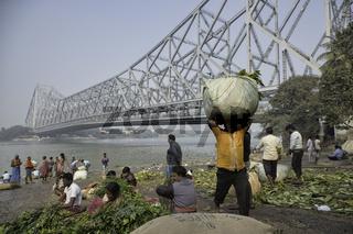 Famous Howrah Bridge in Kolkata.It is one of the ıconic landmarks of Kolkata